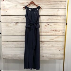 David's Bridal Navy blue long gown worn once Sz 6